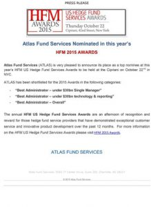Atlas Fund Services Nominated in this year's HFM 2015 Awards