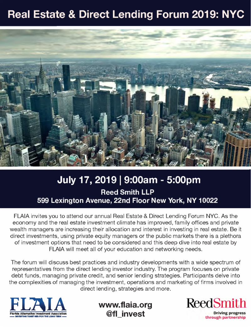 Atlas attends FLAIA's Real Estate & Direct Lending Forum NYC, July 17,2019